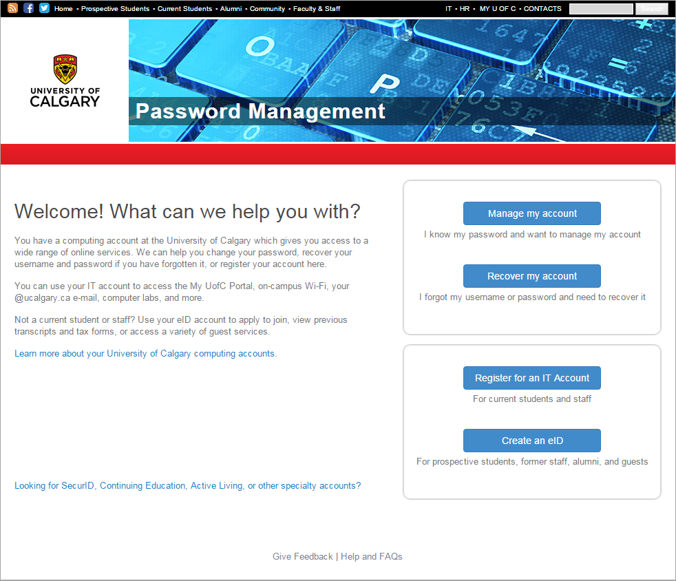 password management home screen
